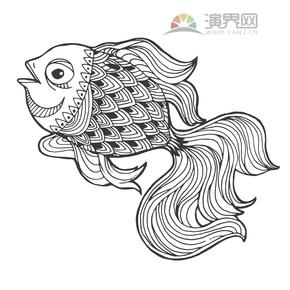 鱼-线条花纹创意设计