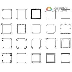 黑色方形创意古典简约设计实用边框合集