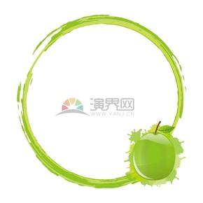 青梨水果系蘋果綠色圓形邊框鏡框展示框
