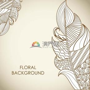 简约设计线条流畅植物叶子实用花纹装饰背景图案