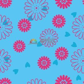 简约创意设计粉色花朵线条流畅实用花纹装饰蓝色背景图案