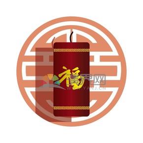 春节喜庆元素福字鞭炮