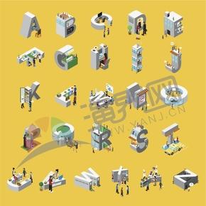 立体2.5D建筑人物插画26个字母