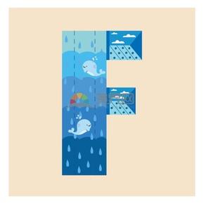 海底世界蓝色渐变字母F