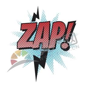 紅字藍黑底漫畫抽象藝術字ZAP