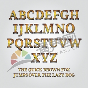 线条金银配色立体26个字母