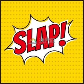 黄色斑点背景艺术字SLAP