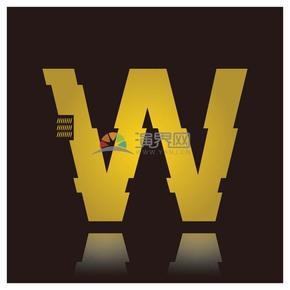 高级金色符号设计字W