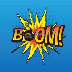 蓝色炸弹艺术字boom