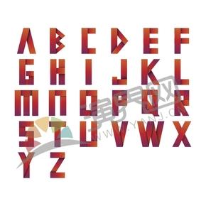 折叠阴影折纸橘红配色26个字母