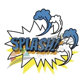 藍字白底漫畫抽象藝術字SPLASH