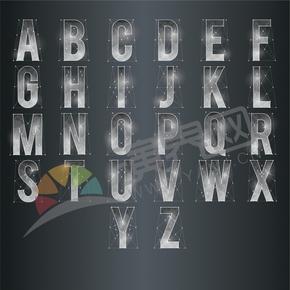 外结构线圆形高光银白色26个字母