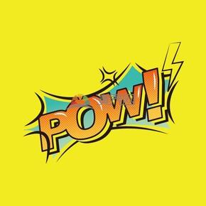 黄色背景艺术字pow