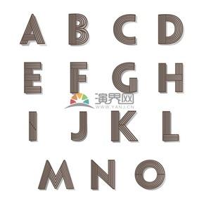 褐色创意线性条纹立体2.5D字母图标合集