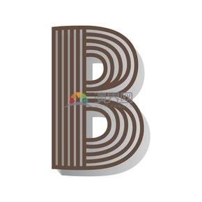 褐色创意线性条纹立体2.5D字母图标B