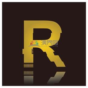 高级金色符号设计字母R