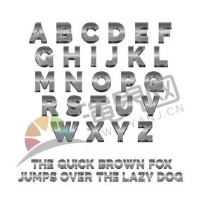立體銀色高光陰影26個字母