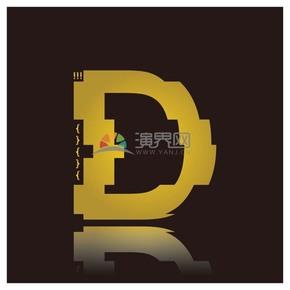 高级金色符号设计字母D