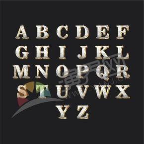 鉆石金配色立體星型高光26個字母