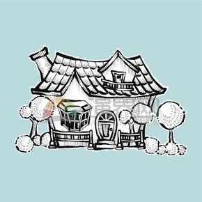 简约创意设计可爱房屋别墅卡通建筑物