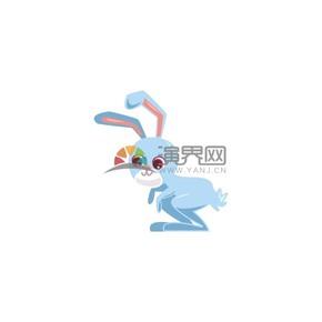 可爱卡通蓝色兔子素材