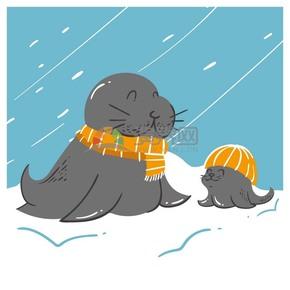 矢量卡通动物海狮