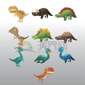 灰色渐变恐龙世界合集