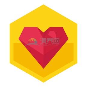 六邊形黃色背景愛心矢量素材