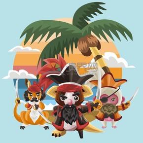 卡通创意海盗动物插画