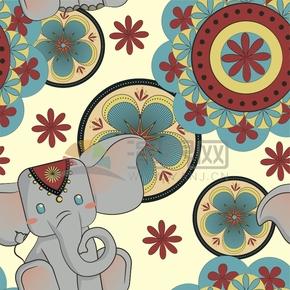 西域風大象卡通動物花紋裝飾元素創意設計
