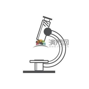 简洁创意黑色线条显微镜卡通图