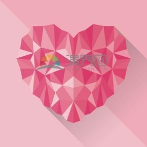 愛情幾何立體粉色愛心素材