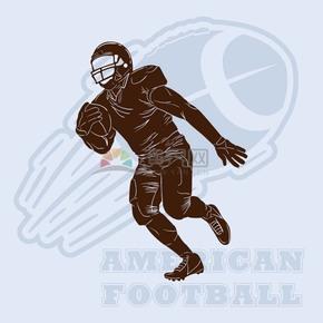 趣味活泼形象生动橄榄球运动员卡通图