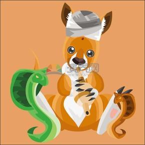 卡通動物立體幾何耍蛇人形象袋鼠