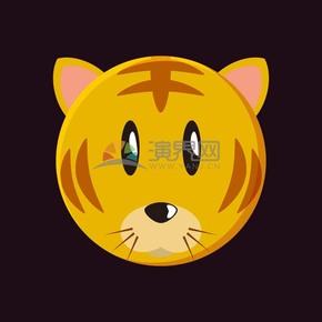 老虎头像矢量卡通动物素材