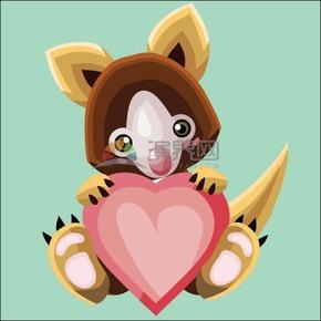 卡通立體幾何動物懷抱愛心的考拉