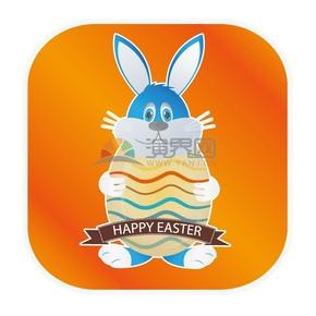 蓝兔卡通元素