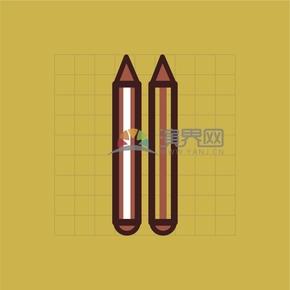 黃色文具用品鉛筆卡通創意設計