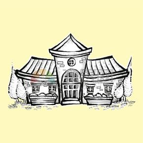简约创意设计可爱乡下房屋卡通建筑物