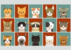 卡通动物小猫合集