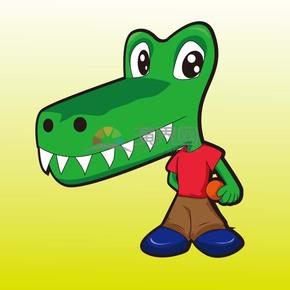 卡通身穿运动装的动物鳄鱼