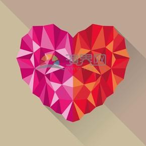 愛情幾何立體多色愛心素材