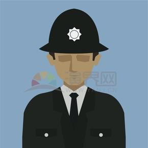 藍色背景圖警察人物創意卡通元素設計