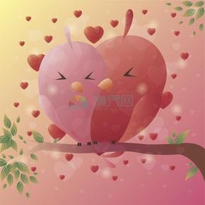 恩愛夫妻樹上的鳥兒成雙對卡通圖