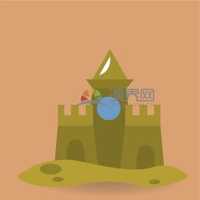 趣味活潑簡約清新兒童海邊沙灘建筑城堡卡通圖