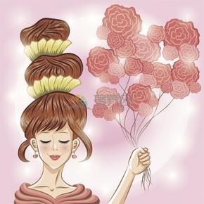 美少女手拿粉色玫瑰花氣球浪漫清新簡約卡通圖