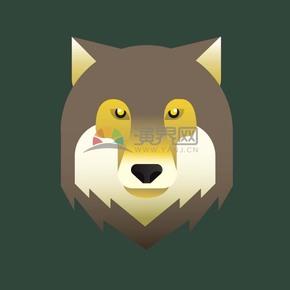 卡通动物创意狼头形象