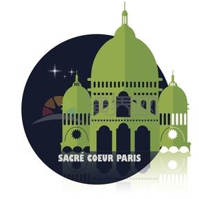 绿色巴黎圣心高级艺术建筑卡通画