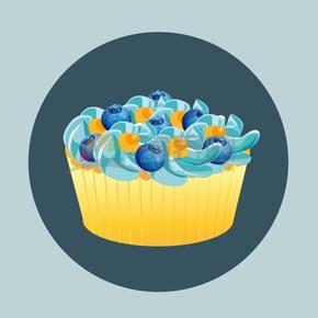 卡通蓝莓水果蛋糕点心下午茶