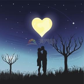 浪漫夜晚星空心形月亮男女朋友情侶夫妻深情擁吻圖